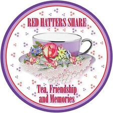 3X RED T SHIRT RED HATTERS SHARE TEA & FRIENDSHIP DESIGN FOR LADIES OF SOCIETY