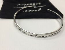 Florence Scovel Silver Cuff Bangle Bracelet ENGRAVED love sentiment mother & son