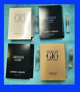 4 ARMANI CODE, COLONIA ACQUA DI GIO, ABSOLU Men's Cologne Toilette SAMPLE Sprays