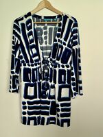 TORI RICHARD Dress White Blue Vintage Geometric Short Sleeve Summer S 6 8