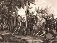 CHRISTOPHER COLUMBUS DISCOVERS AMERICA KNEELS ON SHORE ~ 1892 Art Print Gravure