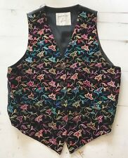Vintage 80's Georges Marciano For GUESS Embroidered Floral Black Vest Sz L