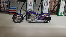 Motorcycle chopper 1:18 Showcasts Blue - orange Diecast Metal & other material