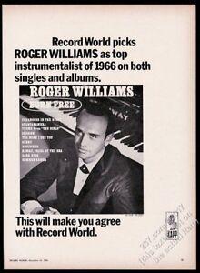 1966 Roger Williams photo Born Free album release vintage trade ad