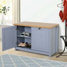 Chic Shoe Cabinet 4 Storage Units Wood Effect Top Entryway Living Room Furniture