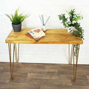 CHUNKY Console Table With Gold Hair Pin Legs Solid Reclaimed Timber 44CM X 4.4CM