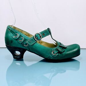 TIGGERS Germany Womens US 10B / EUR 41 Teal Leather MaryJane Heels T Strap Shoes