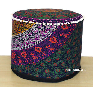 """18"""" Floral Vintage Ottoman Pouf Cover Footstool Round Floor Decorative Cushion"""