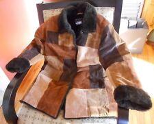 Dennis Basso Women's  Marlboro Style Suede Patchwork Coat Faux Sherpa Lining M