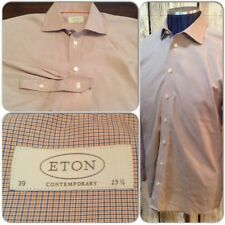 Eton Contemporary Luxury Button Down Shirt Mens 39/15.5 Tattersall Check H1-92