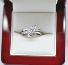 Solitaire with Accents Simulated Sterling Silver Fine Rings