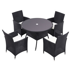 Garden Patio Rattan Glass Table Dining Tables Outdoor Furnitute w/ Parasol Hole