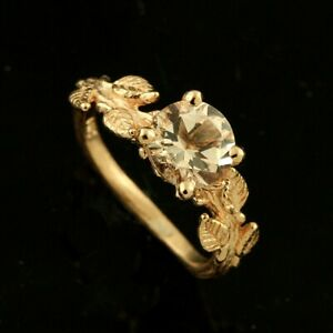 Hand Crafted Subtle Leaves Accent Round Morganite Engagement Ring 14k Pink Gold