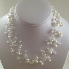 New David Elizabeth Jewelry, White Faux Pearl, Illusion Floater Necklace