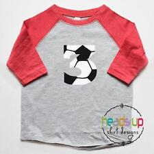 3 Soccer Birthday Raglan Shirt - Toddler Boy/Girl Soccer Three Bday Shirt - 3rd