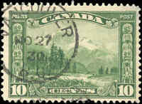 Used Canada 10c 1928 F+ Scott #155 KGV Scroll Issue Stamp
