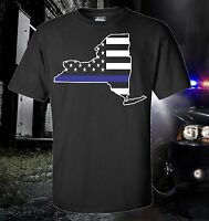 New York State City Thin Blue Line Flag Police Law Enforcement T-SHIRT USA