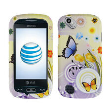 PANTECH LASER P9050 AT&T RUBBERIZED COATING HARD CASE RAINY FLOWER BUTTERFLY