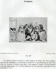 TRAPIANTO DI DENTI CON DONATORE VIVO. Caricatura. Dentista.Dentist.Zahnarzt.1929