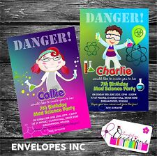 Personalised Birthday Invitations Mad Science Party x 5