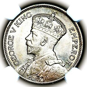 1935 King George V New Zealand Silver One Shilling 1S KM 3 NGC MS65