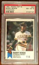Barry Bonds 1991 Panini Top 15 CANADIAN Variety #20 PSA 8, Only 2 graded higher!