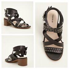 New! Torrid Size 12W Black Wraparound Studded Block Heels (Wide Width) #189
