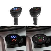 12V/24V 3 in 1 Digital Volt Voltmeter Thermometer Lighter USB Car Charge zxc
