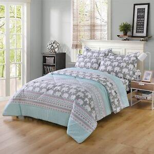 5/7Pcs Kids Comforter Set Girls Comforter Kids Bedding Set Twin/Full,Elephant