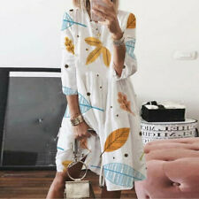 Women Summer Holiday Printed O-neck High Waist Plus Size  Loose Long Dress Daily