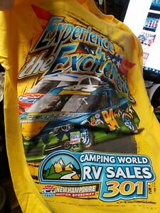 July 13,2014 New Hampshire Camping World 301 yellow  2-sided t-shirt  M   New