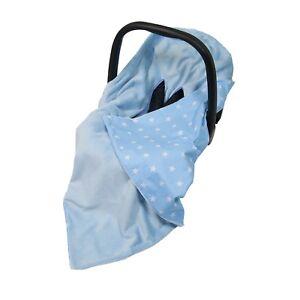 NEW CAR SEAT BABY WRAP - TRAVEL WRAP / CAR SEAT BLANKET - BLUE & WHITE STARS