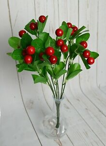Artificial Large Red Berry Bunch 36cm x 7 stems Christmas displays