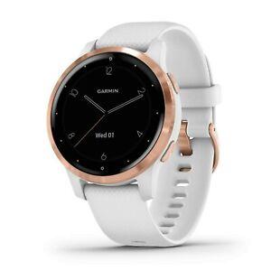 New Garmin Vivoactive 4S White Band Rose Gold Bezel GPS 010-02172-21 + More