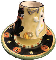 Porce Tea Light Candle Holder Votive Cat Witch and Ghost Halloween Home Interior