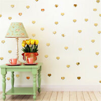 100 Pcs Mirror Wall Stickers Heart Round Shape Art Decal Home Room Decor 3D DIY