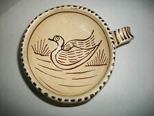 VINTAGE RED CLAY FOLK ART POTTERY SIGNED BZ WITH  DUCK ON MUG Mexican ? MEXICO?