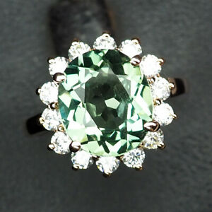 SAPPHIRE GREEN OVAL 6.10 CT. 925 STERLING SILVER ROSE GOLD RING SZ 6.75 WOMEN