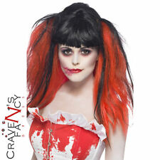 Ladies Blood Drip Wig Black and Red Bunches Halloween Fancy Dress Accessory New