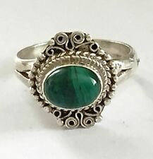 Sterling Silver Traditional Asian Vintage Style Malachite Ring Size O 1/2 Gift