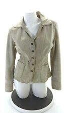 LIVE A LITTLE WOMEN'S BEIGE LEATHER SNAP UP JACKET SIZE S