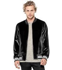 Guess Men's Long Sleeve Metallic Velvet Jacket (Jet Black, Large)