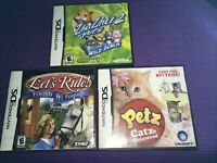 Petz Cats/ZhuZhu2/Let's Ride Nintendo DS Lot Of 3 Games  Free Shipping