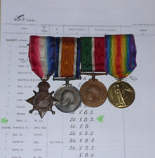 1915 STAR TRIO & MERCANTILE MARINE WAR MEDAL TO SUB-LIEUT - Later Master Mariner