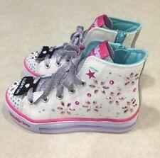"SKECHERS Shuffles ""Petal Pop"" Youth Girl's Hi-Top White/Multi Sneakers~~Size 2"