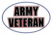 Army Veteran Oval White Vinyl Decal Bumper Sticker