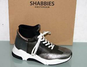 SHABBIES AMSTERDAM Running Boots Leder Sneaker Schnürer Silver - Neu&OVP! Gr. 37