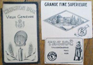 THREE Printer's Proof 1930s Bottle Labels - Genievre, Wine - Soldier