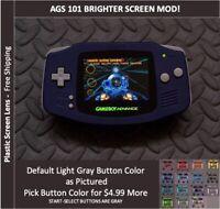 Nintendo Game Boy Advance  System AGS101 Backlit Mod-Plastic Screen - BLUE