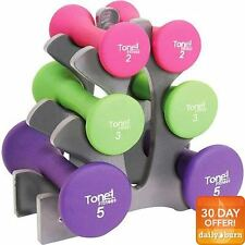 "Tone Fitness 20lb Hourglass Neoprene Dumbbell Set with ""A"" Frame Rack New"